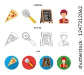 a pizza cutter  a slice  a menu ... | Shutterstock . vector #1247312062