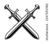 crossed medieval swords on... | Shutterstock .eps vector #1247331982