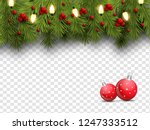 realistic pine leaves  baubles... | Shutterstock .eps vector #1247333512