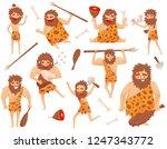 funny stone age prehistoric man ... | Shutterstock .eps vector #1247343772