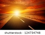 endless road during sunset | Shutterstock . vector #124734748