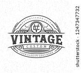 vintage custom logo design | Shutterstock .eps vector #1247347732