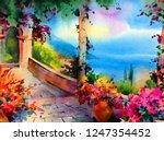 watercolor colorful bright...   Shutterstock . vector #1247354452
