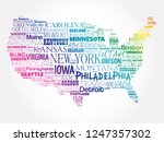 usa map word cloud collage with ... | Shutterstock . vector #1247357302