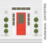 house door front with doorstep...   Shutterstock .eps vector #1247357902