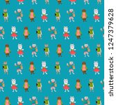 seamless pattern with cats in... | Shutterstock .eps vector #1247379628