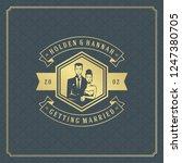 wedding card or invitation...   Shutterstock .eps vector #1247380705