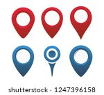 map pin icon set flat design.... | Shutterstock .eps vector #1247396158