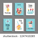 set of cards with hand drawing... | Shutterstock .eps vector #1247410285