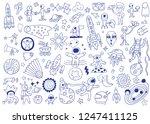 space doodle set | Shutterstock .eps vector #1247411125