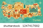set of country turkey culture... | Shutterstock .eps vector #1247417002