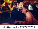 romantic couple dating in pub... | Shutterstock . vector #1247423755