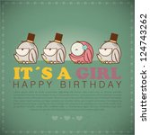 funny happy birthday greeting... | Shutterstock .eps vector #124743262