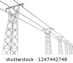electrical towers with wires.... | Shutterstock .eps vector #1247442748