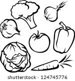 vegetable illustration   black... | Shutterstock .eps vector #124745776