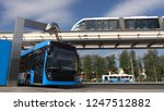 Blue Electric Bus At The...