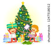 kids opening their christmas... | Shutterstock .eps vector #1247518012