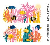 set of cute colorful underwater ... | Shutterstock .eps vector #1247519452