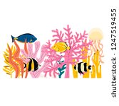 set of cute colorful underwater ... | Shutterstock .eps vector #1247519455