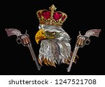 embroidery eagle head  guns and ... | Shutterstock .eps vector #1247521708