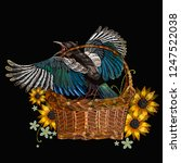 embroidery magpie birds and... | Shutterstock .eps vector #1247522038