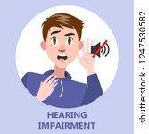 man with hearing impairment as... | Shutterstock .eps vector #1247530582