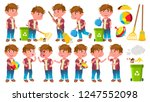 boy kindergarten kid poses set... | Shutterstock .eps vector #1247552098