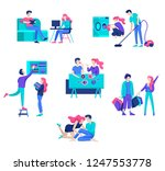 everyday routine scenes and... | Shutterstock .eps vector #1247553778