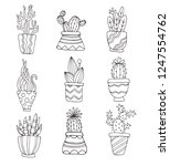 collection of plants in pots....   Shutterstock .eps vector #1247554762