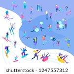 people dressed in winter... | Shutterstock .eps vector #1247557312
