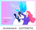 set of landing page templates... | Shutterstock .eps vector #1247558752