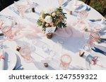 banquet wedding table stands in ... | Shutterstock . vector #1247559322