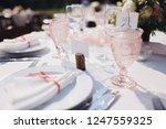 banquet wedding table stands in ... | Shutterstock . vector #1247559325