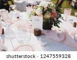 banquet wedding table stands in ... | Shutterstock . vector #1247559328