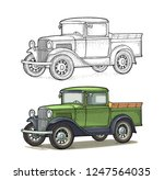 retro pickup truck. side view.... | Shutterstock .eps vector #1247564035