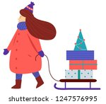 winter dressed woman carry gift ... | Shutterstock .eps vector #1247576995