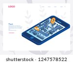 mobile gps  tracking taxi app... | Shutterstock .eps vector #1247578522