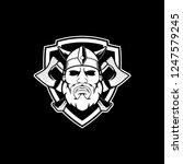 black and white viking cartoon... | Shutterstock .eps vector #1247579245