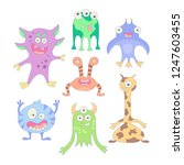 funny monsters. set of elements ...   Shutterstock .eps vector #1247603455
