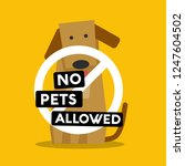 no pets allowed sign with cute... | Shutterstock .eps vector #1247604502