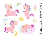 set of funny smiling unicorns.... | Shutterstock .eps vector #1247612725