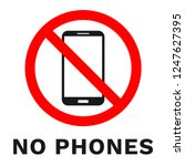 no phones sign. label with... | Shutterstock .eps vector #1247627395