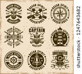 nautical set of nine vector... | Shutterstock .eps vector #1247643682