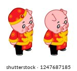 new year piggie birthday... | Shutterstock .eps vector #1247687185