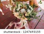 wedding bouquet of flowers and... | Shutterstock . vector #1247693155