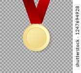 gold medal on transparent... | Shutterstock .eps vector #1247694928