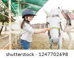 little female owner giving... | Shutterstock . vector #1247702698