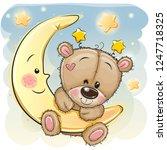 cute cartoon brown teddy bear... | Shutterstock .eps vector #1247718325