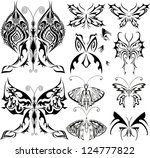 butterfly black shapes tattoo... | Shutterstock .eps vector #124777822