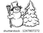 snowman silhouette isolated | Shutterstock .eps vector #1247807272